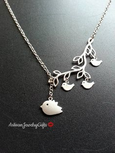 Mom and baby birds branch necklace