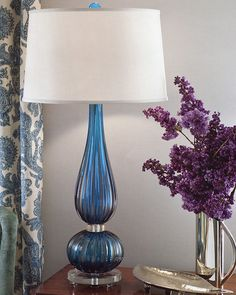 Venetian glass lamp - cobalt blue Venetian glass lamp