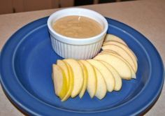 No Sugar Apple Dip  1/2 cup plain yogurt  3 tablespoons natural peanut butter  2 tablespoons honey (preferably raw)  1/8 teaspoon cinnamon  In a small bowl, stir (or whisk) all ingredients until well-blended. Serve chilled with sliced apples or your favorite fruit. I tripled this because it doesn't make a real large amount. It's yummy and best of all healthy :)
