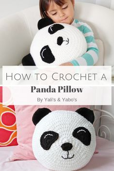 This easy crochet pattern will have you whipping up your very own panda bear in no time! this pattern is rated easy beginner and is written in us terms magic circle crochet tutorial Crochet Pillow Pattern, Crochet Cushions, Crochet Toys Patterns, Crochet Blocks, Afghan Patterns, Square Patterns, Blanket Crochet, Crochet Granny, Knitting Patterns