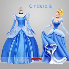 Grimm's fairy tales character cinderella princess cosplay costume luxury long party blue evening dress(China (Mainland))