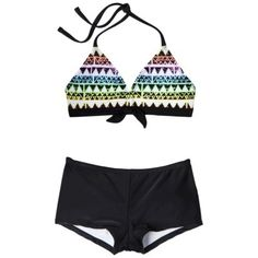 Girls' 2-Piece Halter Geometric Print Bikini Swimsuit Set