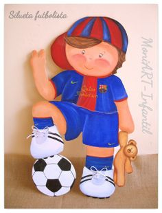 Silueta madera niño fútbol