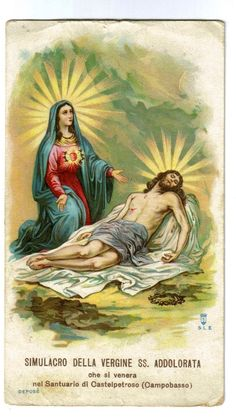 Our Lady of Sorrows before the body of her crucified Son