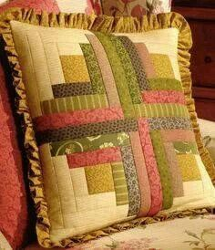Pillow from Thimbleberries Patchwork Cushion, Quilted Pillow, Quilt Block Patterns, Quilt Blocks, Quilting Projects, Sewing Projects, Quilted Potholders, Log Cabin Quilts, Miniature Quilts