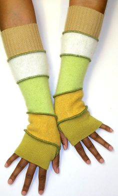 Fingerless Gloves made from recycled wool sweaters.