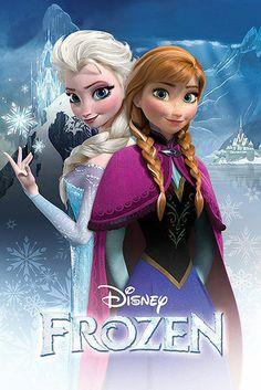 Póster Anna y Elsa. Frozen: el reino del hielo Póster con la imagen de las dos hermanas Anna y Elsa en la que las podremos ver en la película de animación Frozen: el reino del hielo.