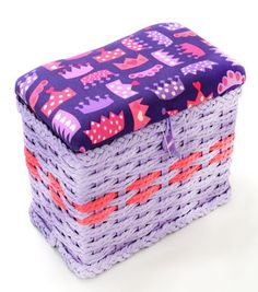 Sewing Basket-Extra Small Purple Crown Print