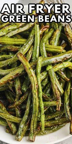 Air Fried Green Beans, Air Fryer Recipes Green Beans, Fresh Green Bean Recipes, Air Fryer Recipes Vegetarian, Air Fryer Oven Recipes, Air Frier Recipes, Air Fryer Dinner Recipes, Veggie Recipes, Air Fried Vegetable Recipes