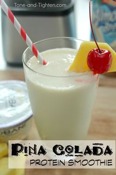 The most refreshing gains you'll ever make! Pina Colada Protein Smoothie Recipe on Tone-and-Tighten.com