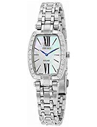 Seiko SUP283 Women's Tressia Stainless Steel Silver Bracelet Band White Dial Watch >>> Visit the image link more details.
