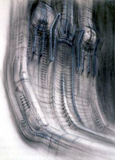 Concept Art, Alien [Egg Silo, unfinished] - by H.R. Giger, 1978