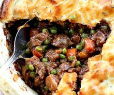 Made with moose meat. The filling in this Beef Pot Pie recipe is guaranteed to create the best, deep-flavored pot pie you've ever tasted. The ultimate comfort food meal. Crunchwrap Supreme, Meat Recipes, Cooking Recipes, Healthy Recipes, Pot Pie Recipes, Easy Beef Recipes, Online Recipes, Kitchen Recipes, Free Recipes