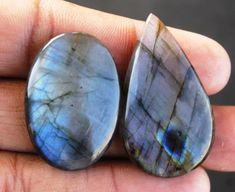 02 Pcs Natural Labradorite Cabochons 75.1 CTS AAA+ Quality Looes Labradorite Gemstone for Wirewrapping DIY Ring Pendants Jewelry Supplies http://etsy.me/2AJppcv #supplies #blue #anniversary #christmas #oval #beading #purple #fullflashy #strongfire