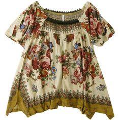 フラワースカーフジャージィ (990 PLN) ❤ liked on Polyvore featuring tops, dresses, shirts, blusas, brown shirts, shirt top and brown tops