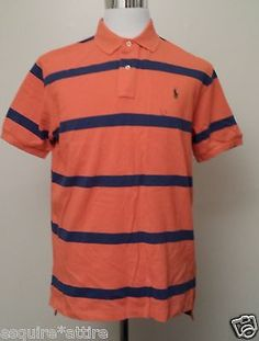 #men fashion style cloth POLO Ralph Lauren men size M POLO shirt orange with stripes (short sleeve) RalphLauren withing our EBAY store at  http://stores.ebay.com/esquirestore