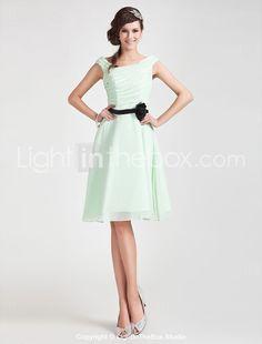 A-line Off-the-shoulder Knee-length Chiffon Bridesmaid Dress - USD $ 99.99