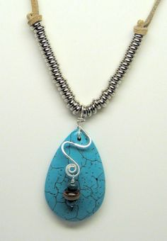 Magnesite Drop Pendant on Genuine Suede by Desertsunartjewelry, $45.00