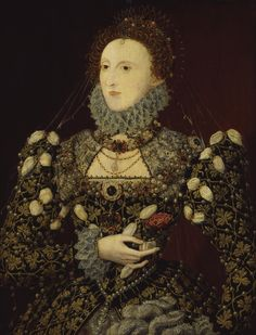 """Elizabeth I, the """"Phoenix"""" portrait, oil on panel; 78.8 x 61 cm (31 x 24 in). On display at Tate Britain (London), lent by the National Portrait Gallery, L00128."""