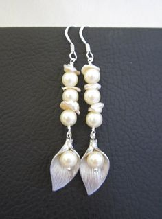 CALLA LILY Earrings with Pearl Wedding/Bridesmaid by Muse411, $28.00