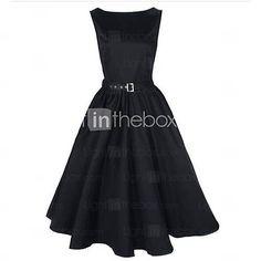[USD $ 22.50] Women's Boat Neck Vintage Sleeveless Rockabilly Swing Audrey Retro Dress