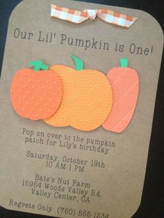 Pumpkin Patch Handmade Invitations Custom Made for Birthday Party on Kraft Paper, #pumpkinparty #pumpkinbabyshower #pumpkinbirthday