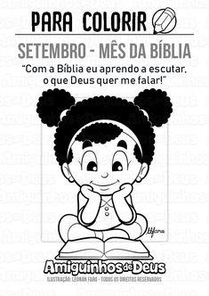 setembro mes da biblia desenho para colorir Bible, Study, Comics, Fictional Characters, Latina, Metal, Sunday School Decorations, Infant Activities, Sunday School Kids
