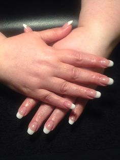 Pink and White acrylics by Erin Smail at Salon Euphoria. # 253-852-1440