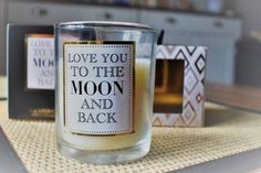 Luxury Scented Candle Quote Love You To The Moon and Back Gold Box  in Home, Furniture & DIY, Home Decor, Candles & Tea Lights | eBay!