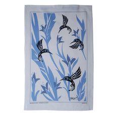 North Coast Indian Hummingbird Design Tea Towel (Blue) - by Tsimshian native artist Bill Helin - Pacific Northwest Shop