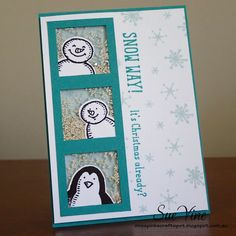Shaker Card using Snow Place Bundle featuring Snow Friends : Miss Pinks Craft Spot