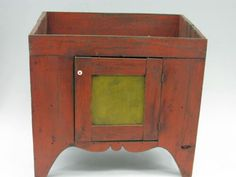 PRIMITIVE DRY SINK PAINTED RED AND YELLOW