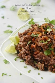The beauty of this Mexican Shredded Beef is it can be done in the Instant Pot or the slow cooker and either way it's delicious!