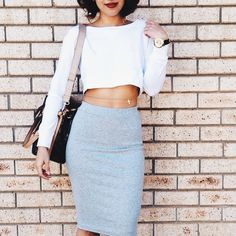 midi skirt, grey, crop top, simple, vavavoom