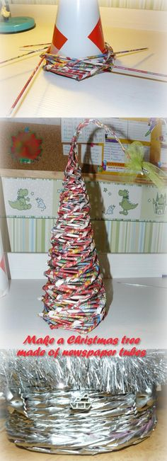 Make A Christmas Tree Made Of Newspaper Tubes. Master Class