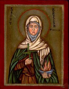 Saint Brigit of Kildare, or Brigit of Ireland (variants include Brigid, Bridget, Bridgit, Bríd and Bride), nicknamed Mary of the Gael (Irish: Naomh Bríd) (c. 451–525) is one of Ireland's patron saints along with Saints Patrick and Columba. Irish hagiography makes her an early Irish Christian nun, abbess, and founder of several monasteries of Christian nuns, including that monastery of 'Kildare' Ireland ((53°09′28″N 6°54′41″W / 53.15772°N 6.91128°W.[2]), which was considered legendary and…