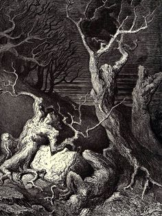 Dante and Virgil before Pier della Vigna, detail, 1890 Gustave Doré Dark Artwork, Dark Art Drawings, Gustave Dore, Dante Alighieri, Satanic Art, Arte Obscura, Goth Art, Illusion Art, Monster Girl