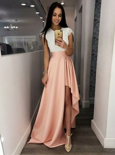 A-Line Crew Cap Sleeves Split-Side Pink Satin Prom Dress with Lace 7559bc2f0ae