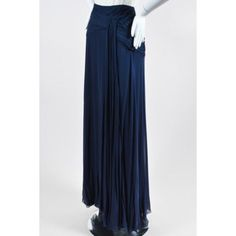 Pre-Owned Ralph Lauren Purple Label Nwt $2995 Navy Silk Ruched Full... ($435) ❤ liked on Polyvore featuring skirts, blue, long blue skirt, long navy skirt, draped skirts, floor length skirts and draped maxi skirt
