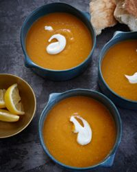 Egyptian Red Lentil Soup      ACTIVE: 15 MIN      TOTAL TIME: 45 MIN      SERVINGS: 8      Known as shorbet ads, this vividly hued lentil soup is very popular in Egypt.    Slideshow: More Vegetarian Soup Recipes        2 tablespoons unsalted butter      1 medium onion, chopped      2 carrots, finely chopped      3 celery r