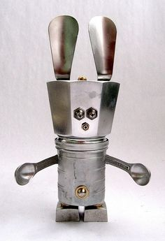 (I love shoe horns anyway.)  By Brian Marshall via Adoptabot: Dishfunctional Designs: Robots Made From Found Objects