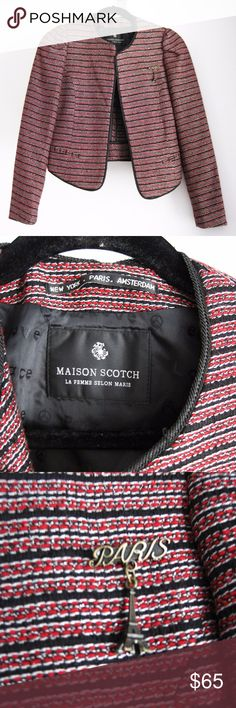 """Maison Scotch Cropped Striped Jacket XS A cropped striped jacket by Maison Scotch featuring puff shoulders and a removable Eiffel Tower pin. Sleeves and bodice are lined. Perfect festive piece to wear for Fall or Winter social events or just around the office. Excellent condition-only worn it twice and dry cleaned once. Smoke/pet-free home. Feel free to ask questions! Measurements:  Across Shoulder (ah seam to ah seam): 13"""" Bust Circumference (with center front closed): 32"""" Sleeve Length…"""