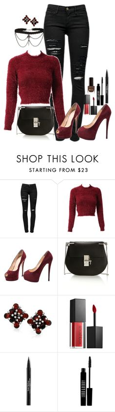 """""""Untitled #3489"""" by fashion-nova ❤ liked on Polyvore featuring Frame Denim, Giuseppe Zanotti, Chloé, Smashbox, Trish McEvoy, Lord & Berry and Max Factor"""