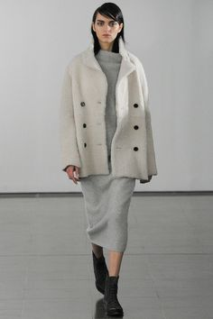 Joseph F/W 204-15| Statement Pea Coat... lavish white shearling LOVE