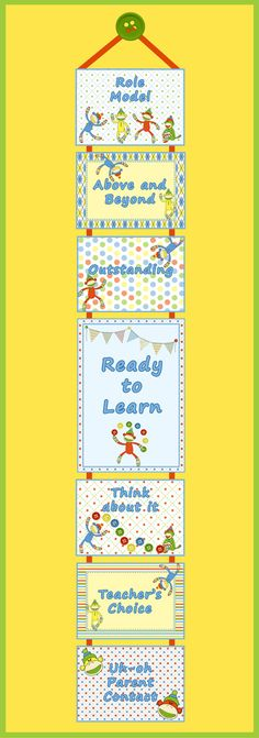 Sock Monkey Themed Classroom! This chart is effortless to create and put together with ribbon or rings. It is easy to track students' daily behavior by writing their names on clothespins and clipping them on. $ www.classrominspirations.com