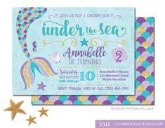 Mermaid Birthday Invitation • Mermaid Invite • Under The Sea Party Mermaid Tail…