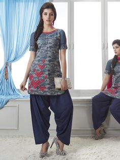 Shop Printed grey blue cotton silk salwar suit online from G3fashion India. Brand - G3, Product code - G3-WSS00064, Price - 4795, Color - Blue, Grey, Fabric - Cotton Silk,