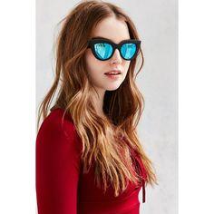 Quay Kittie Cat-Eye Sunglasses ($45) ❤ liked on Polyvore featuring accessories, eyewear, sunglasses, blue, quay sunglasses, cateye glasses, cat eye glasses, cateye sunglasses and retro glasses