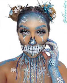 Beautiful ice skeleton make up.
