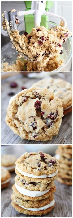 Oatmeal Cranberry Sandwich Cookies with White Chocolate Creme Filling on twopeasandtheirpo... The perfect holiday cookie!